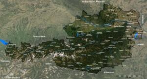 Österreichkarte mit allen größeren Städten